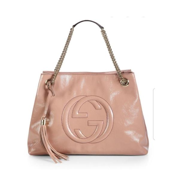 Gucci Handbags - Gucci Soho Medium Patent Leather Tote